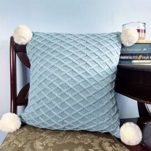 Teal Blue Crocheted Throw Pillow w/ Cream PomPoms